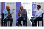 Stirling Moss (left) and Alan McNish interviewed by Scottish historic racer Murray Smith last weekend